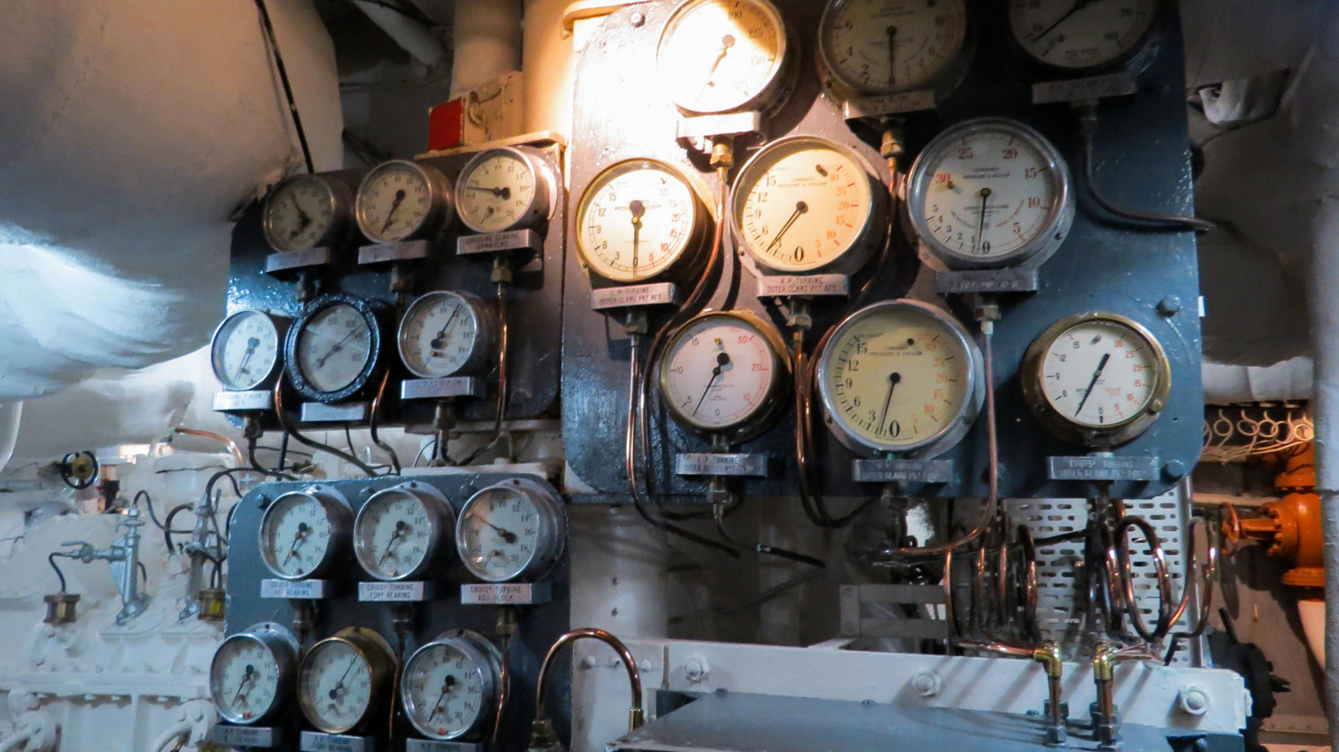 HMS Belfast pressure dials inside the boiler room