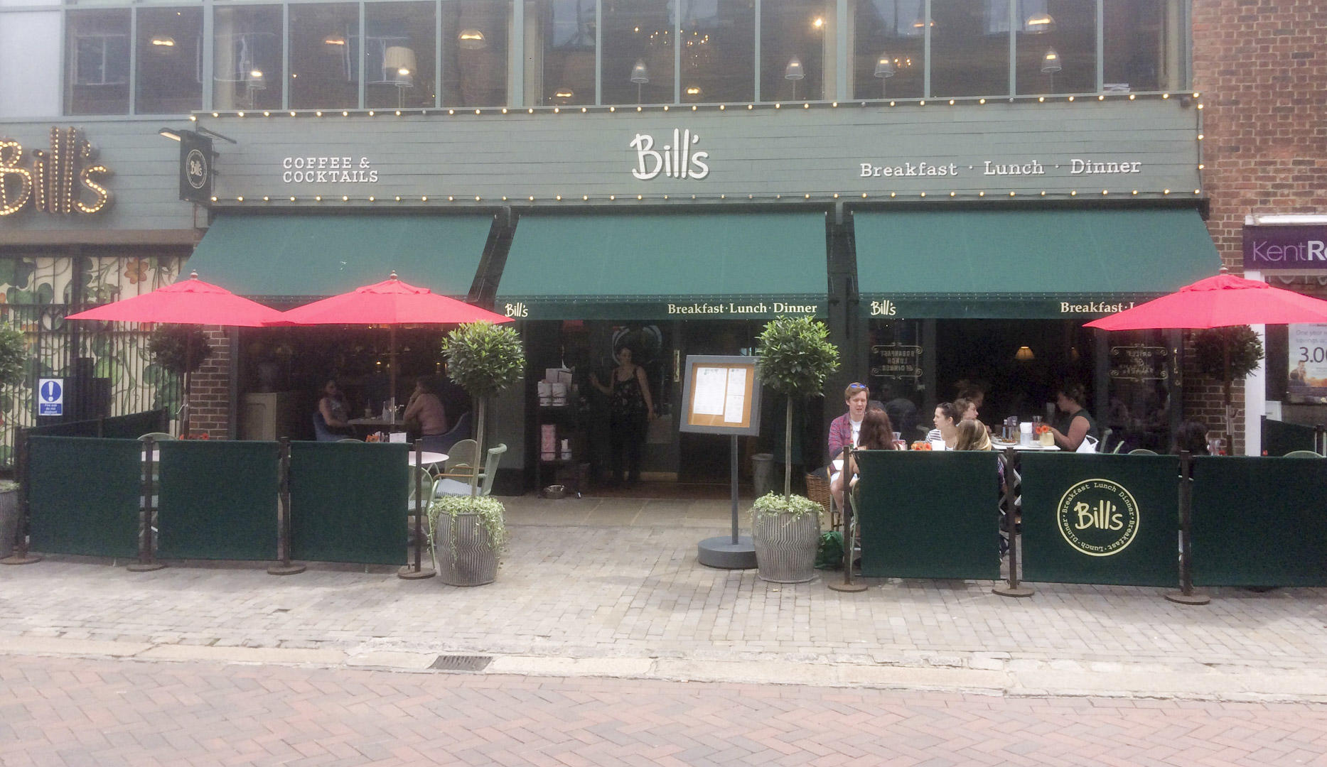 Outside Bill's restaurant in Canterbury.