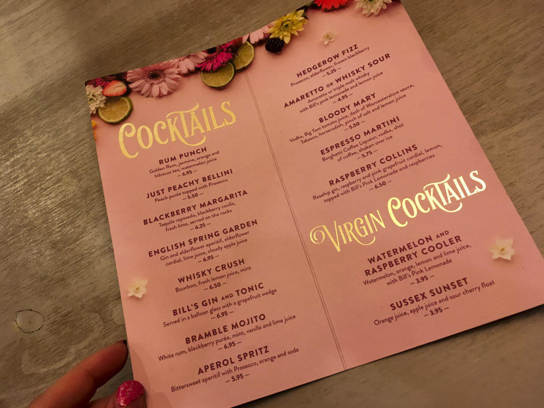a photograph of the cocktail menu at Bill's restaurant in Canterbury.