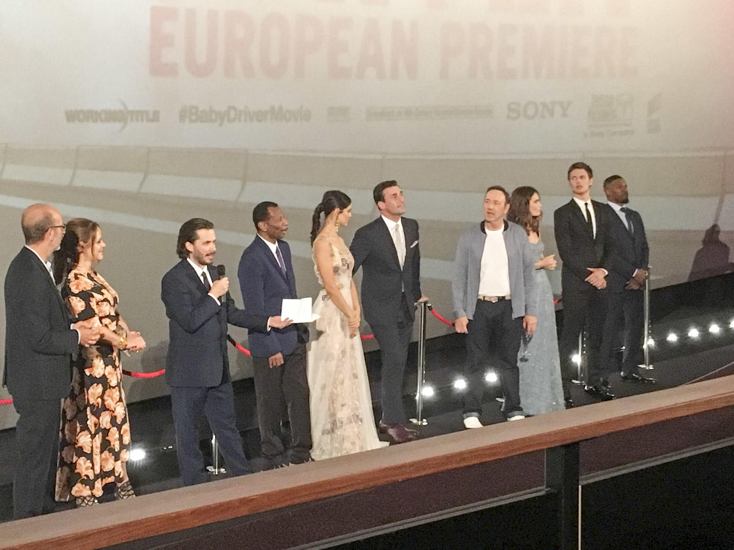film stars lined up for the european premire of baby driver. L-R Eric Feller, Nira Park, Edgar Wright, CJ Jones, Eiza Gonzales, John Hamm, Kevin Spacey, Lily James, Ansel Elgort and Jamie Foxx.