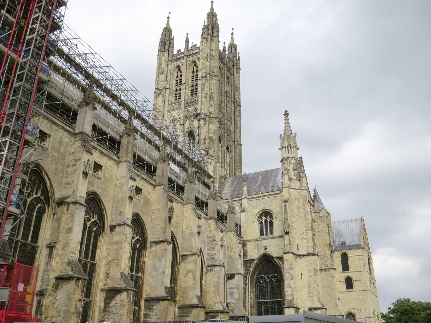 Canterbury Cathedral with scaffolding and grey skyline
