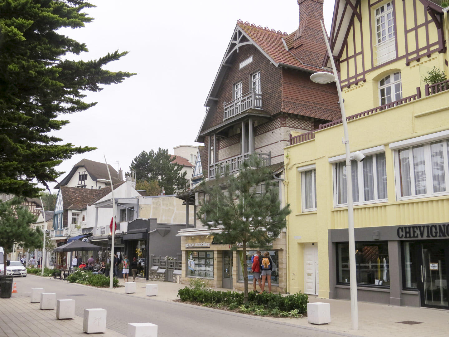 Angled view of a street in Le Touquet, France.