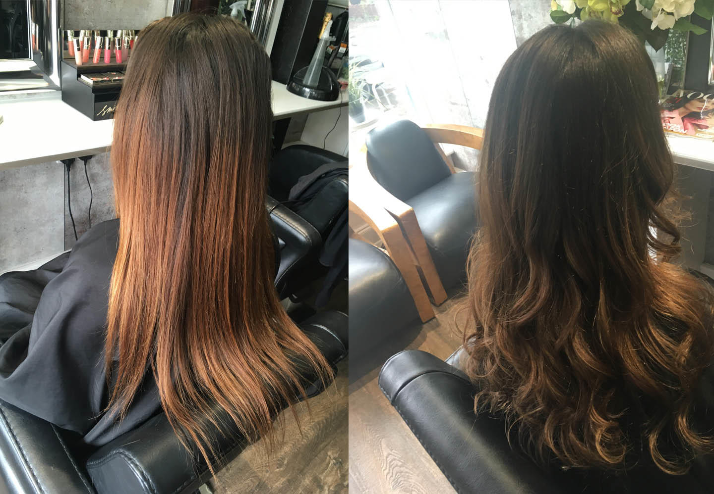 before and after hair comparison using olaplex