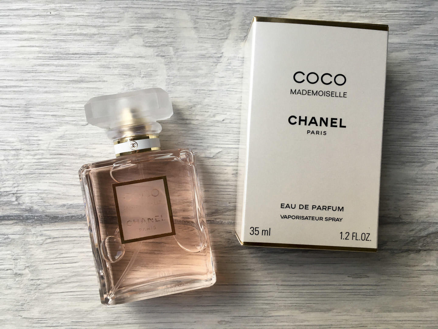 Chanel Coco mademoiselle flat lay style photograph.